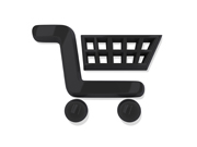 Black Shopping Cart Icon on a White Background.